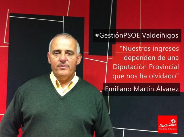 Emiliano Martín: «Nuestros ingresos dependen de una Diputación Provincial que nos ha olvidado»