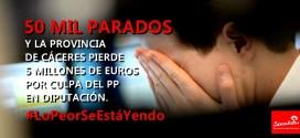 La provincia de Cáceres pierde 5 millones de euros por culpa del PP en la Diputación