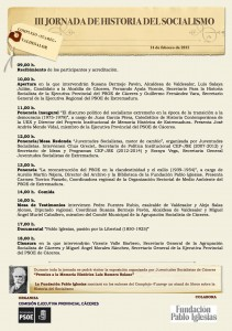 Programa III Jornada Historia del Socialismo -Valdesalor-