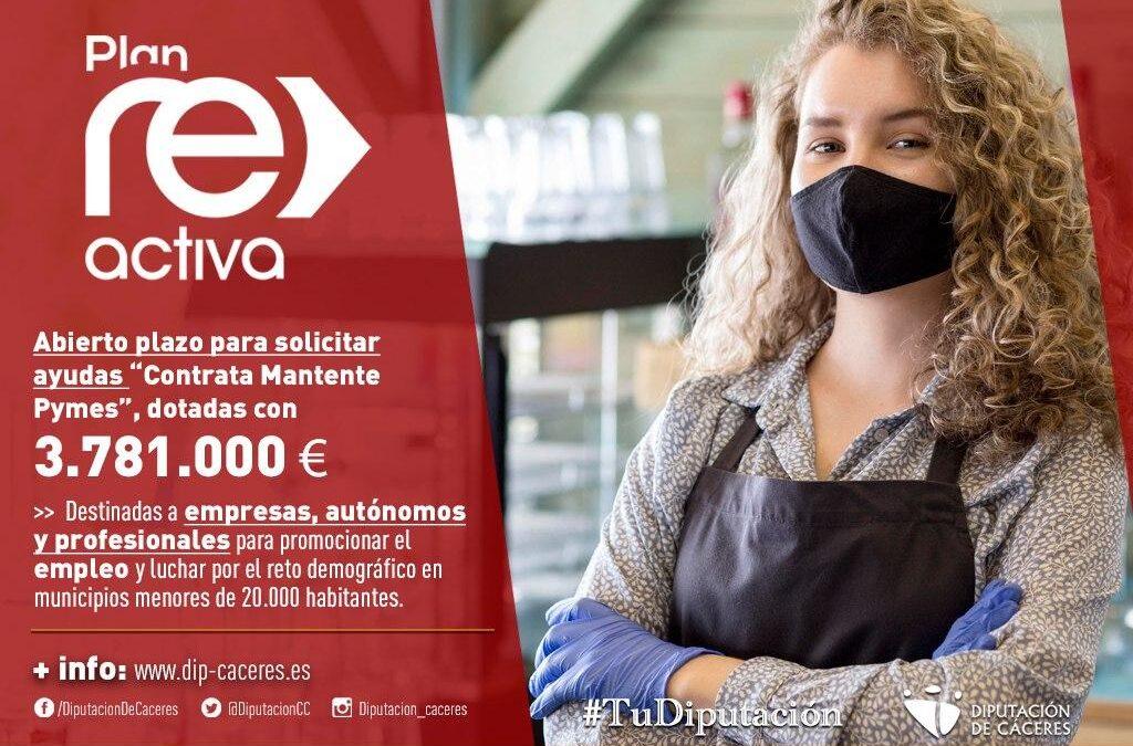 """La Diputación de Cáceres abre el plazo para solicitar las ayudas Reactiva """"Contrata-Mantente Pymes"""", dotadas con 3.781.000 euros"""